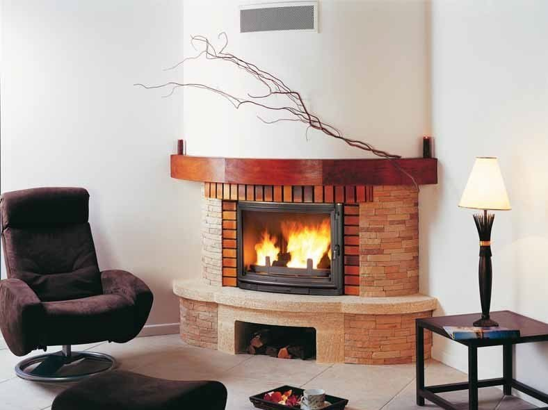 Wood-burning corner fireplace with panoramic glass RONDO by CHEMINEES SEGUIN