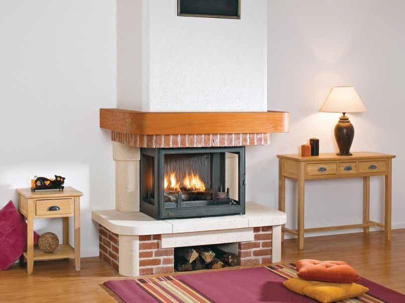 Wood-burning 3-sided fireplace with panoramic glass KENZA by CHEMINEES SEGUIN