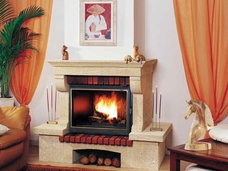 Wood-burning fireplace with panoramic glass ANCOLIE by CHEMINEES SEGUIN
