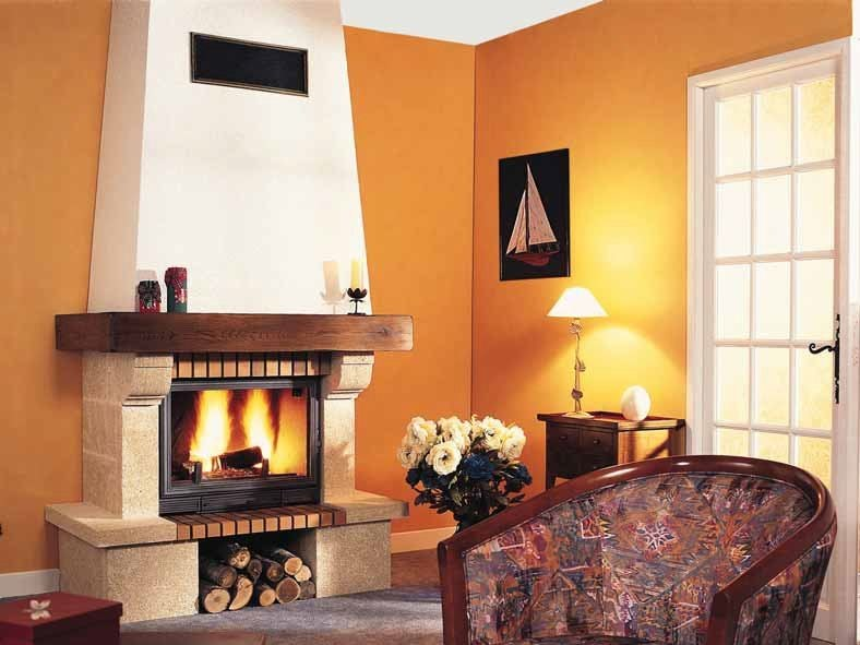 Wood-burning fireplace with panoramic glass RANDANE by CHEMINEES SEGUIN