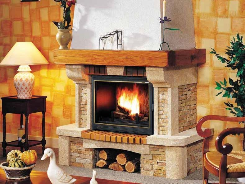 Wood-burning fireplace with panoramic glass OLGA by CHEMINEES SEGUIN