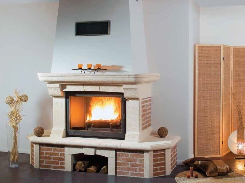 Wood-burning fireplace with panoramic glass HORIA by CHEMINEES SEGUIN