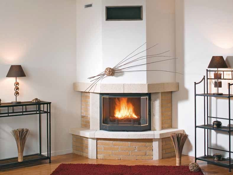 Wood-burning fireplace with panoramic glass LISANNE by CHEMINEES SEGUIN
