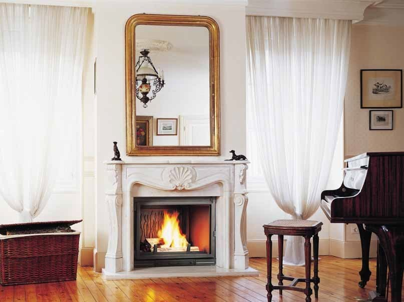 Wood-burning fireplace with panoramic glass VILLANDRY by CHEMINEES SEGUIN