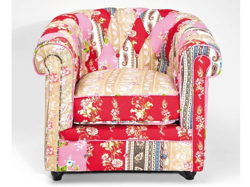 Upholstered fabric armchair with armrests PATCHWORK SURPRISE by KARE-DESIGN