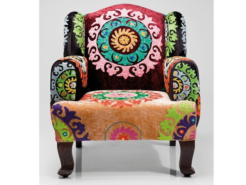 Upholstered fabric armchair with armrests MANDALA by KARE-DESIGN
