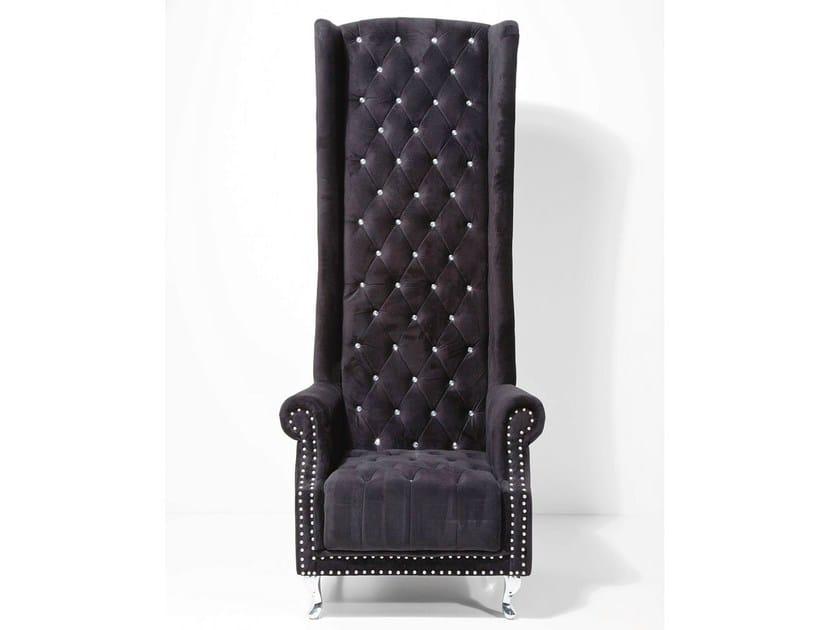Upholstered high-back fabric armchair QUEEN BLACK VELVET by KARE-DESIGN