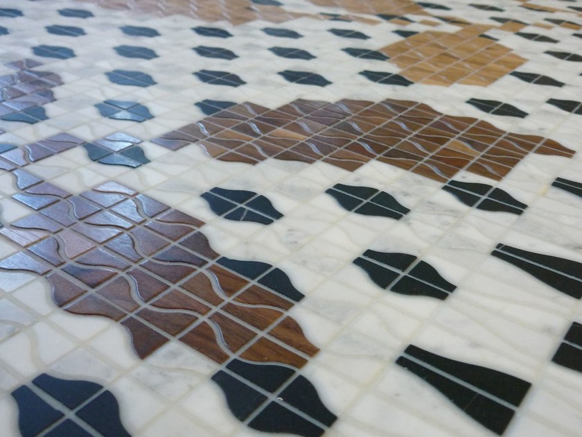 Marble and Wooden mosaic RAMAGE by Mosaico+
