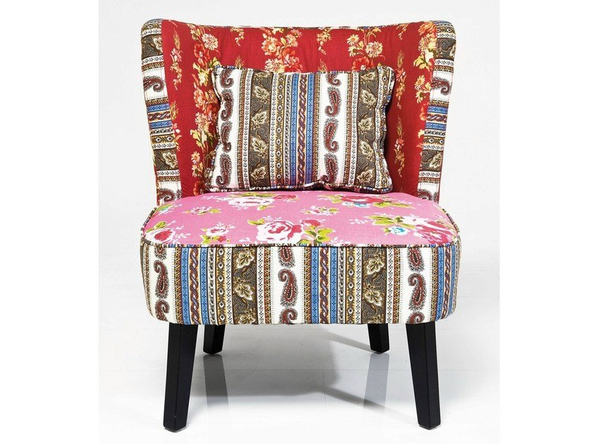 Upholstered fabric armchair CLUB PATCHWORK by KARE-DESIGN