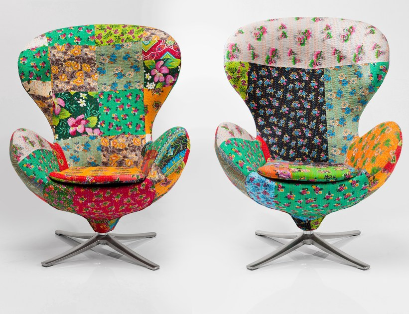 Swivel fabric armchair LOUNGE FLOWER by KARE-DESIGN