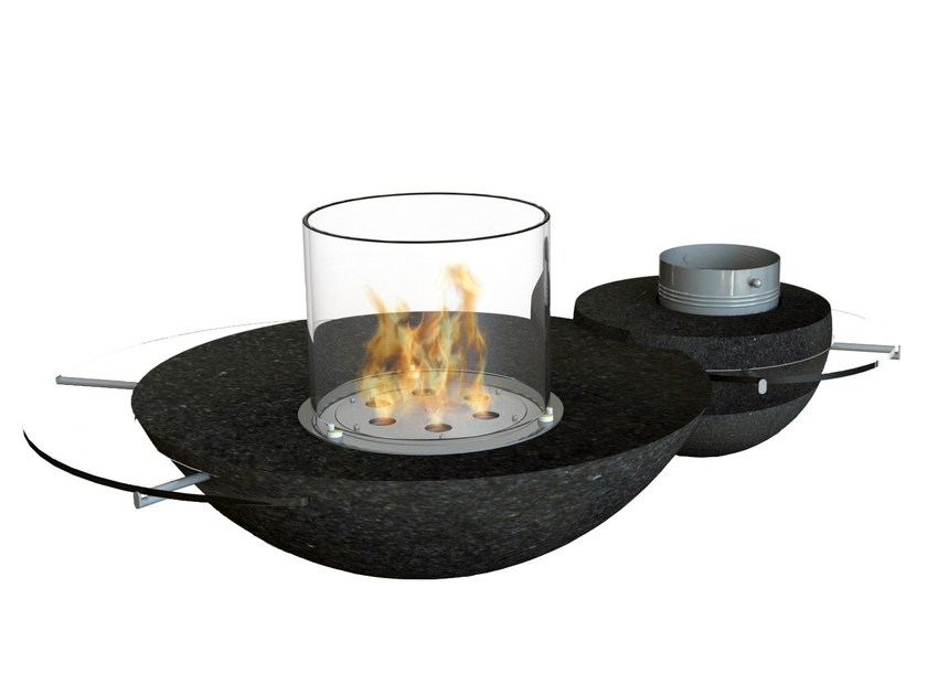 Bioethanol freestanding Glass and Stainless Steel fireplace DUO by GlammFire