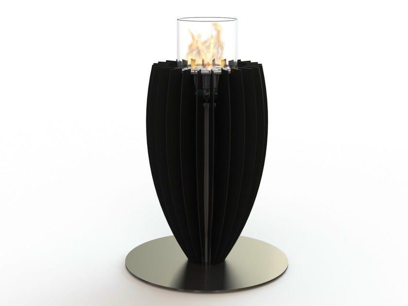 Bioethanol freestanding glass and steel fireplace TULI by GlammFire