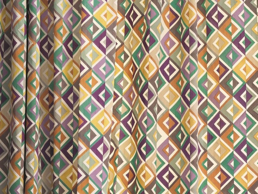 Multi-colored fabric with graphic pattern for curtains ARA | Fabric for curtains by Zimmer + Rohde