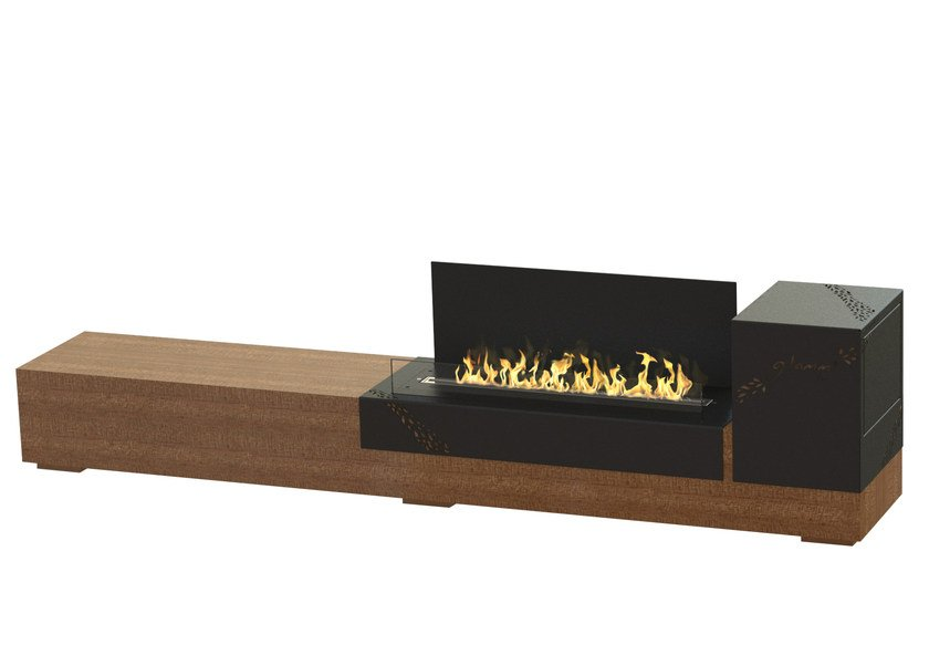 Freestanding bioethanol stainless steel and wood fireplace LOFT by GlammFire
