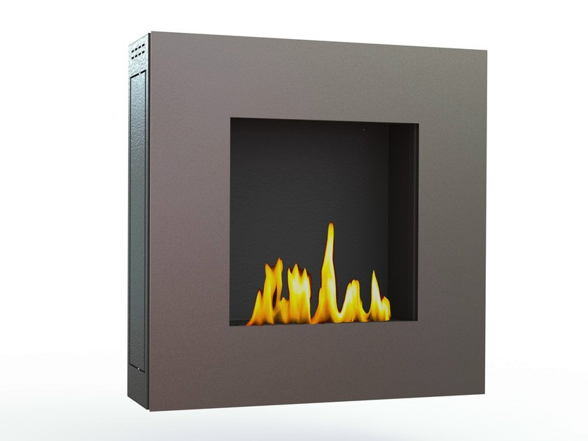 Bioethanol wall-mounted brushed stainless steel fireplace LOTUS III CREA7ION by GlammFire