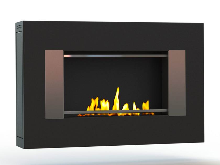Bioethanol wall-mounted brushed stainless steel fireplace MITO SMALL GENESIS II CREA7ION by GlammFire