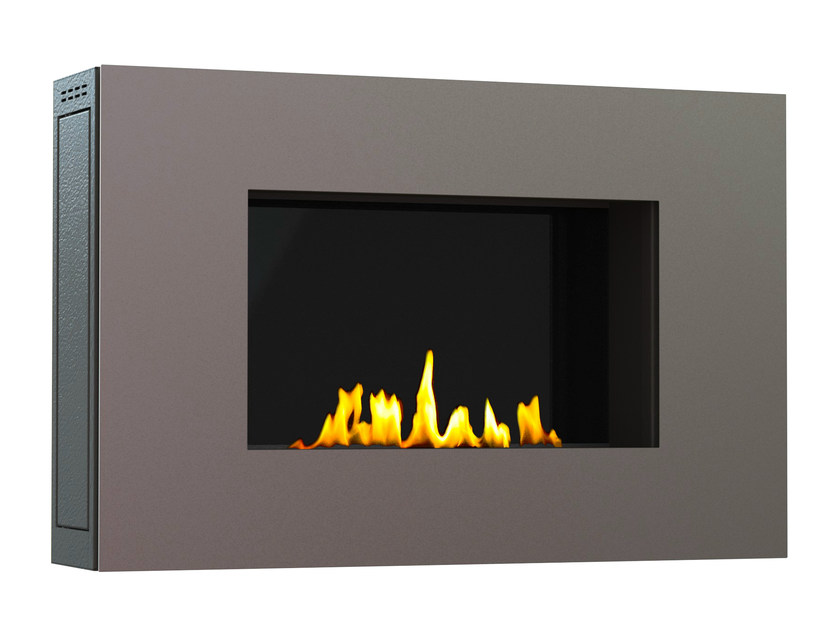 Bioethanol wall-mounted brushed stainless steel fireplace MITO SMALL II CREA7ION by GlammFire