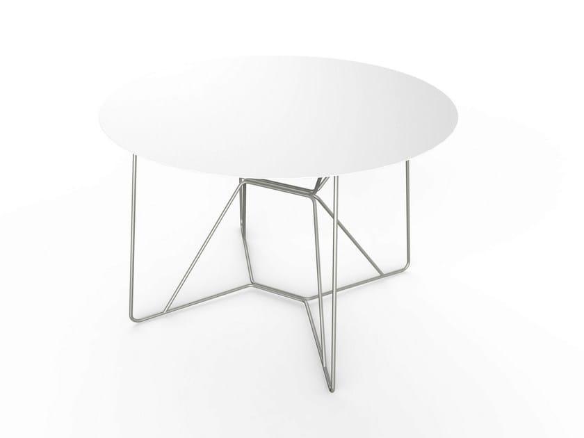 Round Corian® garden table SLIM TABLE 110 by VITEO
