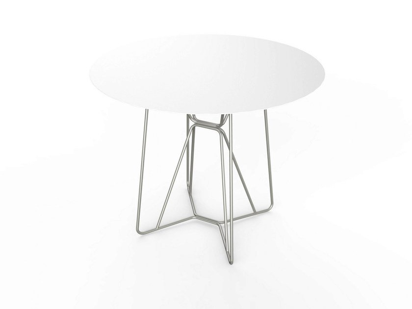 Round Corian® garden table SLIM TABLE 90 by VITEO