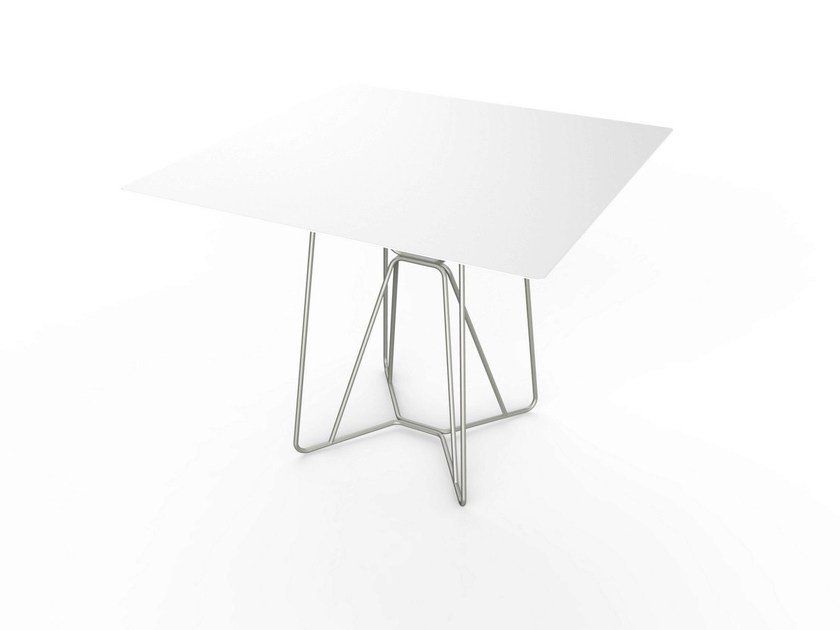 Contemporary style square Corian® garden table SLIM SQUARE TABLE 90 by VITEO