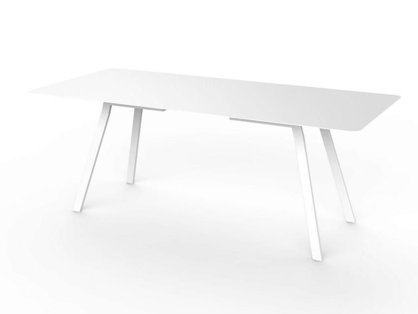 Rectangular Corian® garden table SLIM DINING 200 by VITEO