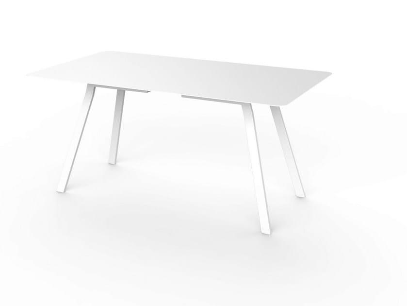 Rectangular Corian® garden table SLIM DINING 160 by VITEO
