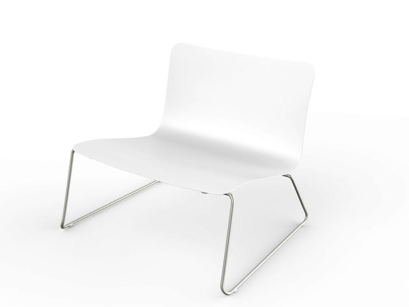 Stackable Corian® garden armchair SLIM   Stackable easy chair by VITEO