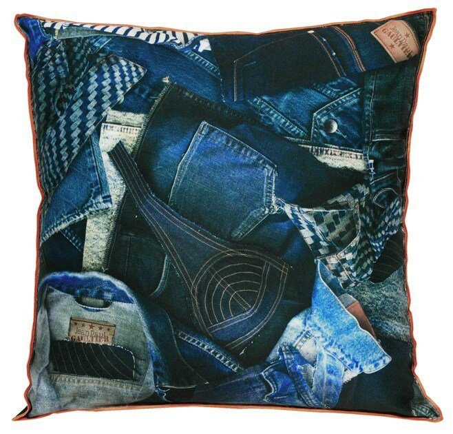 Square fabric cushion AMERICA by LELIEVRE