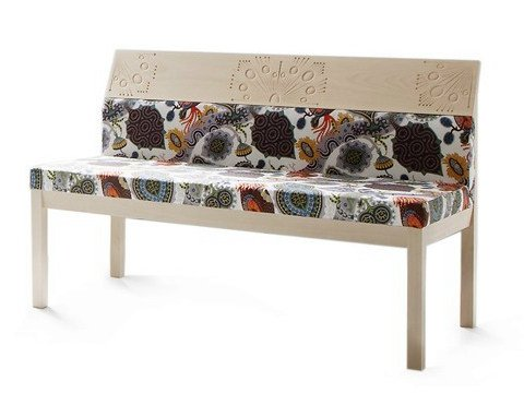 Fabric bench with back ARTE BLOOM by Nikari