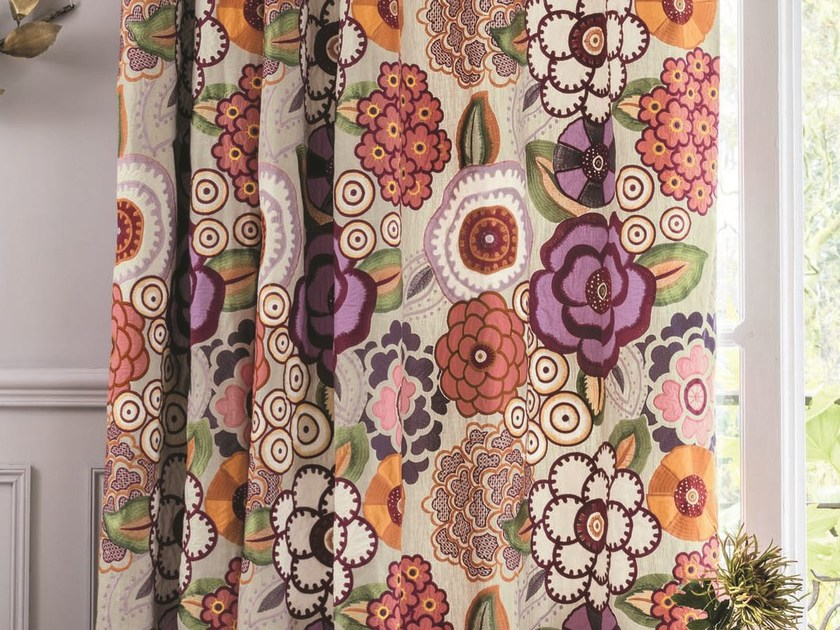 Multi-colored fabric with floral pattern for curtains MADRAGUE   Fabric for curtains by Zimmer + Rohde