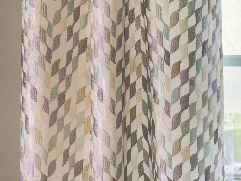 Embroidered fabric with graphic pattern for curtains APRÈS LA PLUIE | Fabric for curtains by Zimmer + Rohde