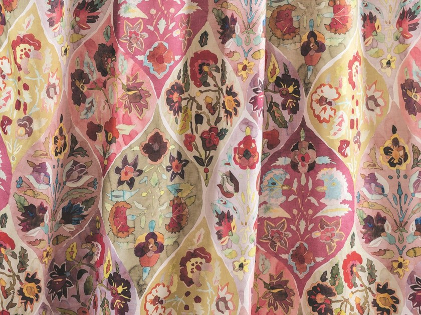 Multi-colored linen fabric with floral pattern for curtains NOMADE   Fabric for curtains by Zimmer + Rohde