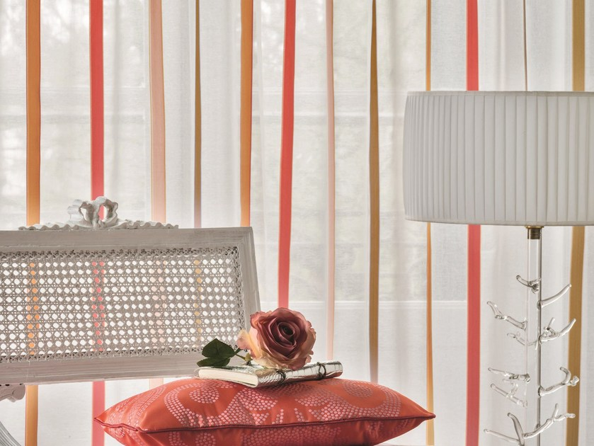 Striped polyester fabric for curtains CABOTINE by Zimmer + Rohde