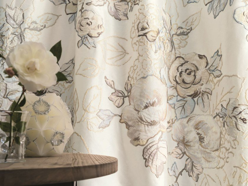Embroidered silk fabric with floral pattern for curtains L'ABSOLUE by Zimmer + Rohde