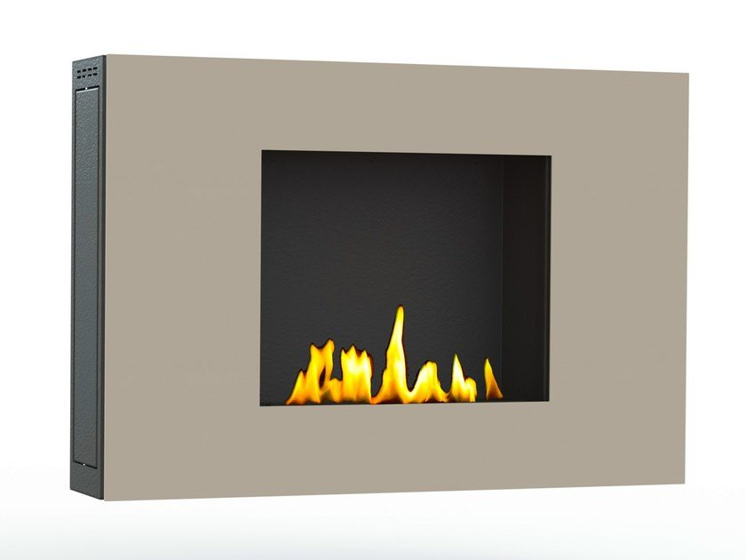 Contemporary style bioethanol wall-mounted steel fireplace with remote control ZEN II CREA7ION by GlammFire
