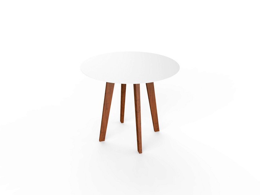 Round Corian® table SLIM WOOD TABLE 90 by VITEO