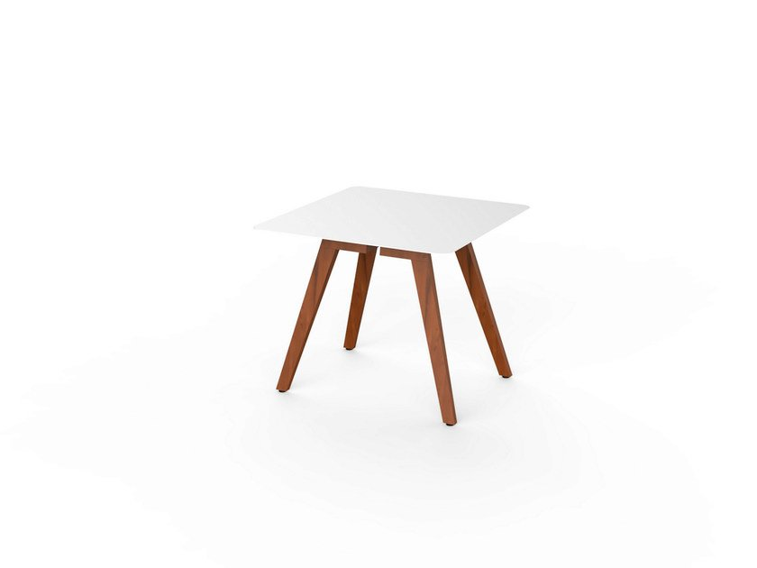 Square Corian® garden table SLIM WOOD DINING 90 by VITEO