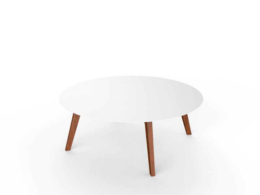 Round Corian® garden side table SLIM WOOD LOUNGE TABLE 110 by VITEO