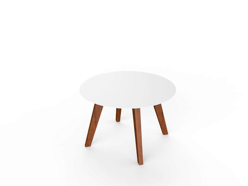 Round Corian® garden side table SLIM WOOD LOUNGE TABLE 64 by VITEO