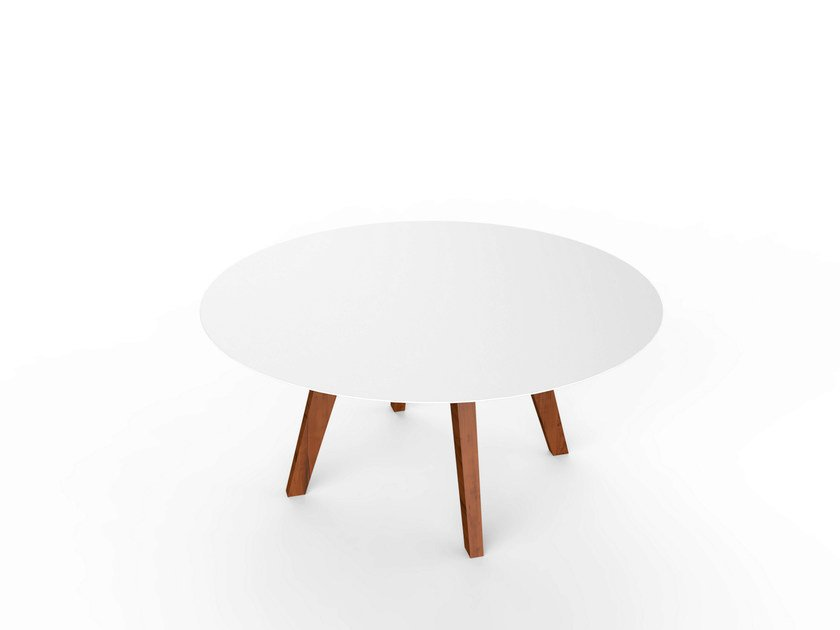Round Corian® garden side table SLIM WOOD LOUNGE TABLE 90 by VITEO