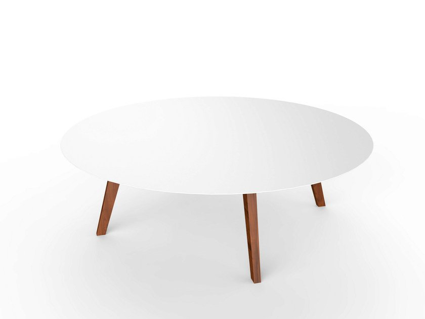 Round Corian® garden side table SLIM WOOD LOUNGE TABLE 130 by VITEO