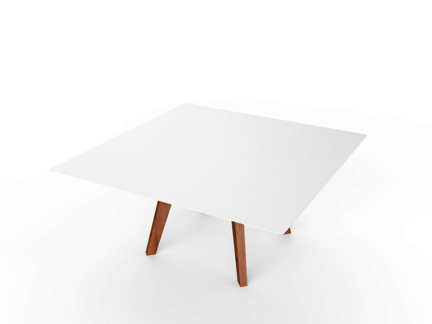 Square Corian® garden side table SLIM WOOD LOUNGE SQUARE TABLE 90 by VITEO