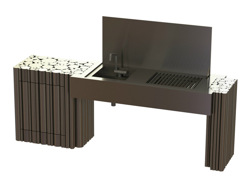 Activated charcoal stainless steel barbecue LA BOHÈME I by GlammFire