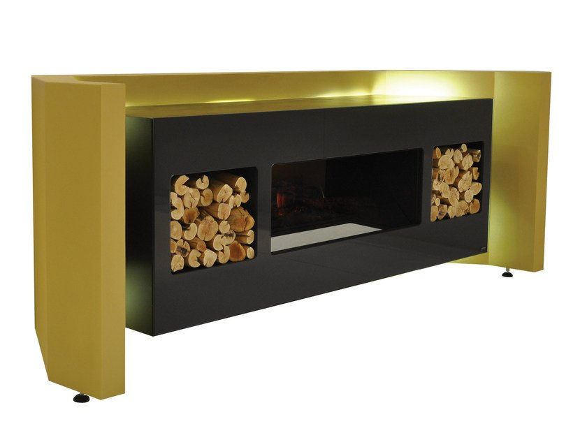 Electric freestanding MDF fireplace with remote control COGNITUS by GlammFire