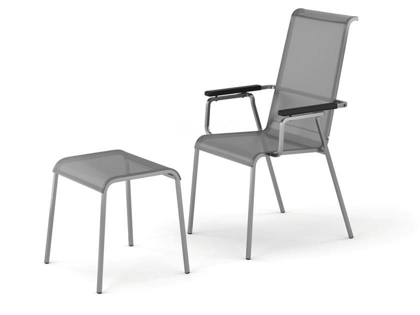 Sedia reclinabile in tessuto con braccioli con schienale alto modena