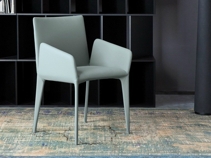 Upholstered chair with armrests FILLY | Chair with armrests by Bonaldo