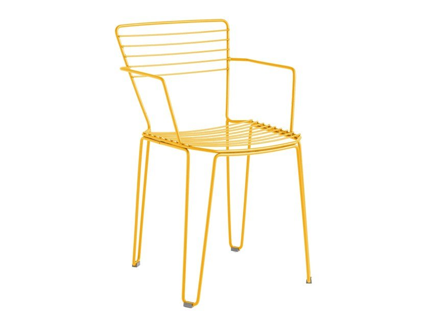 Galvanized steel garden chair with armrests MENORCA | Chair with armrests by iSimar