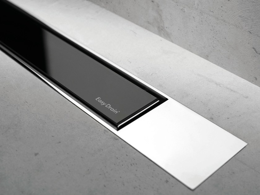 Shower channel MODULO DESIGN Z-2 BLACK GLASS + CHROME by ESS Easy Drain