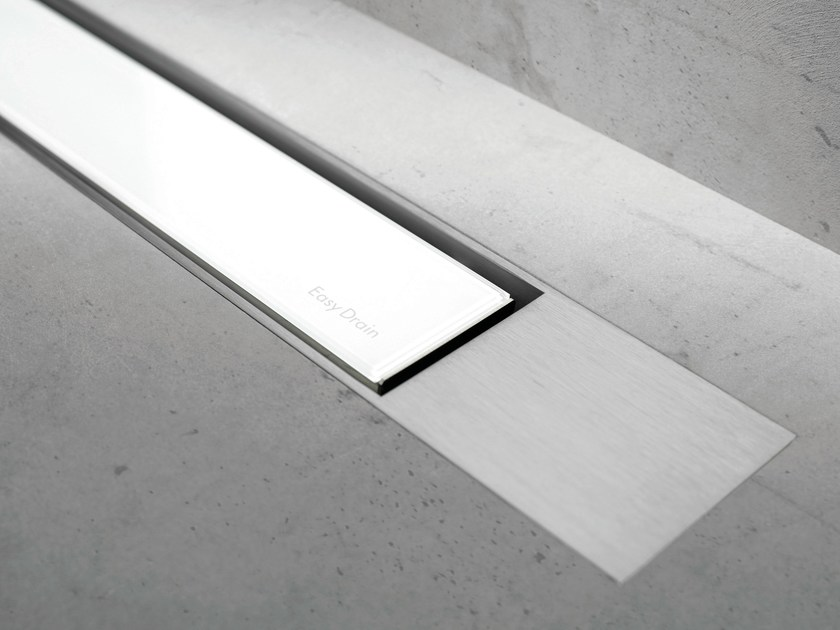 Glass shower channel MODULO DESIGN Z-2 WHITE GLASS+BRUSHED by ESS Easy Drain
