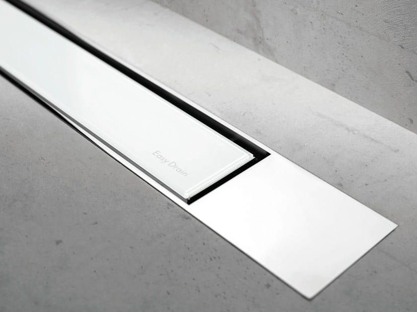 Glass shower channel MODULO DESIGN Z-2 WHITE GLASS + CHROME by ESS Easy Drain